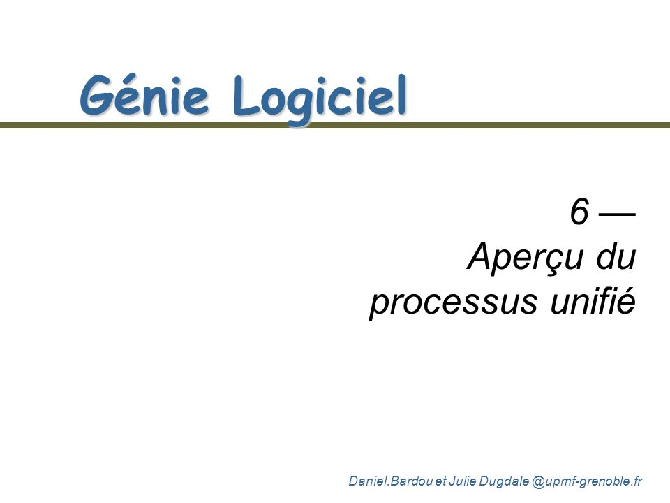 6 — Aperçu du processus unifié
