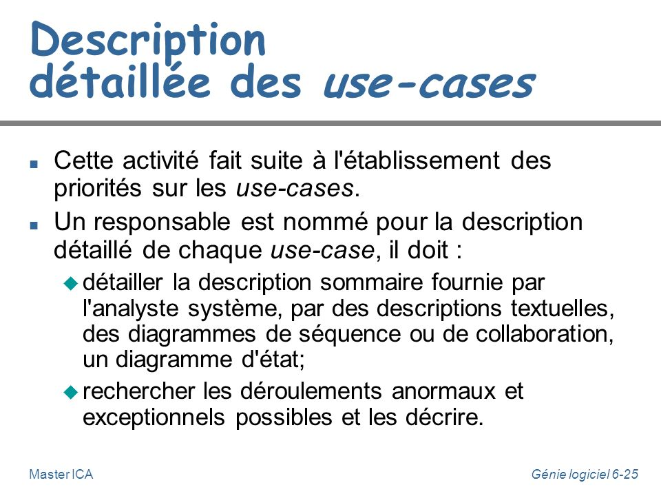 Description détaillée des use-cases
