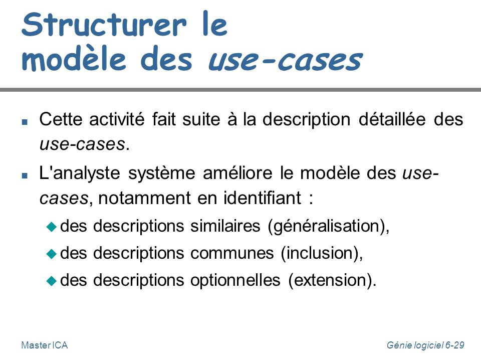 Structurer le modèle des use-cases