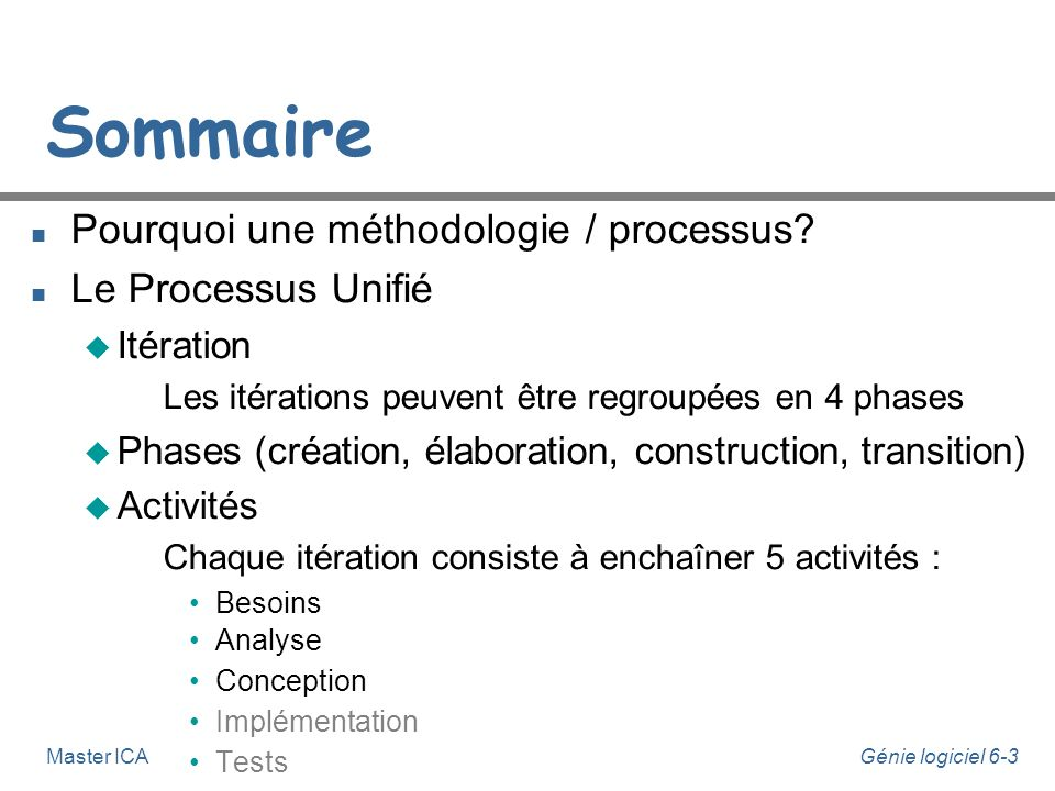 Sommaire Pourquoi une méthodologie / processus Le Processus Unifié
