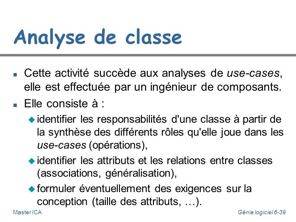 Analyse de classe Cette activité succède aux analyses de use-cases, elle est effectuée par un ingénieur de composants.