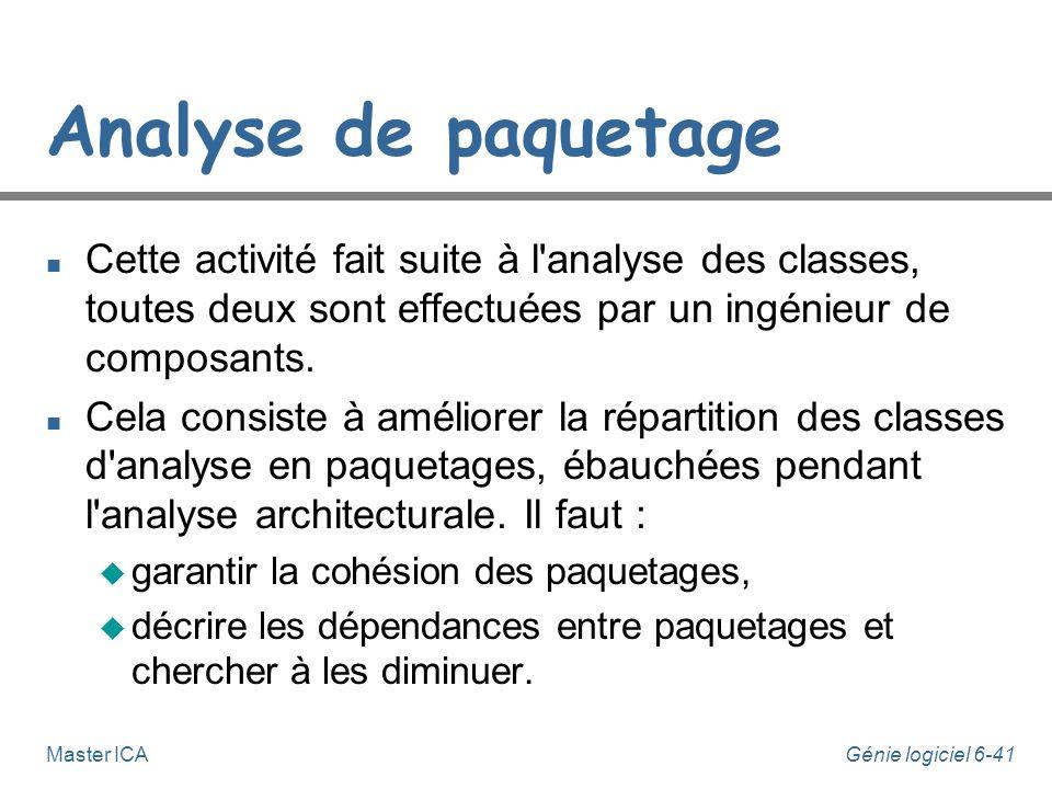 Analyse de paquetage Cette activité fait suite à l analyse des classes, toutes deux sont effectuées par un ingénieur de composants.