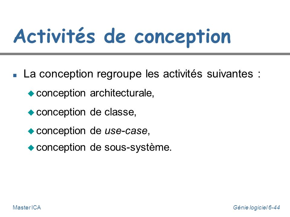Activités de conception
