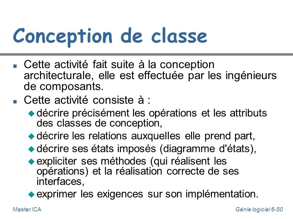 Conception de classe Cette activité fait suite à la conception architecturale, elle est effectuée par les ingénieurs de composants.