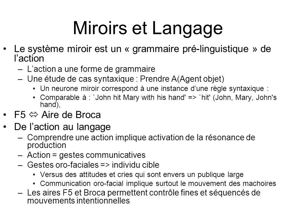 Miroirs et Langage Le système miroir est un « grammaire pré-linguistique » de l'action. L'action a une forme de grammaire.