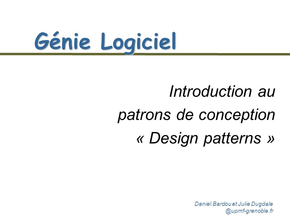 Introduction au patrons de conception « Design patterns »