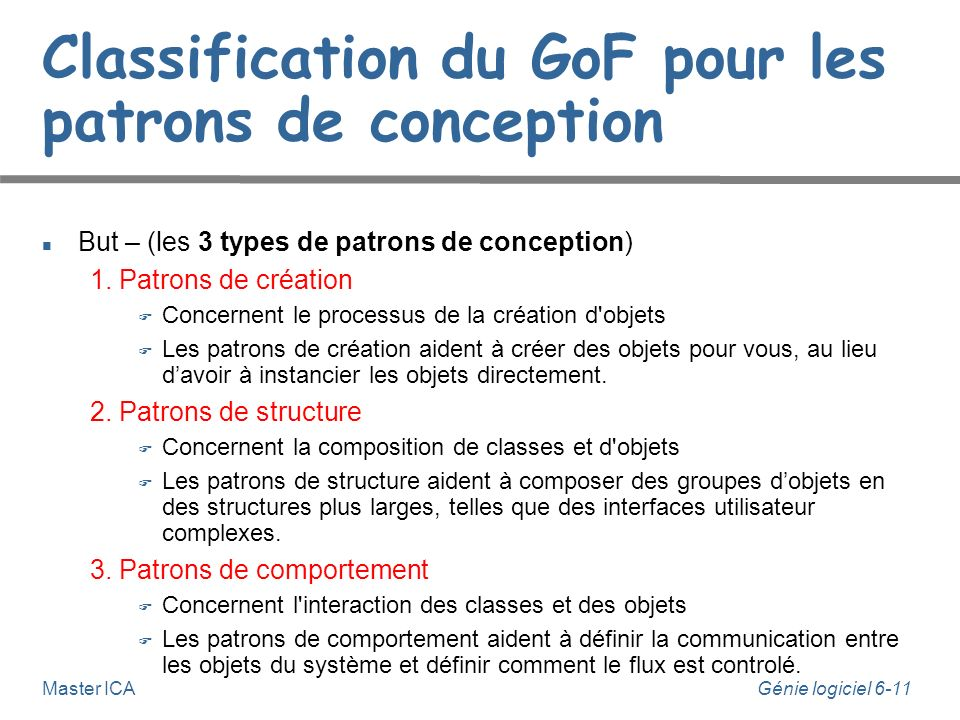 Classification du GoF pour les patrons de conception
