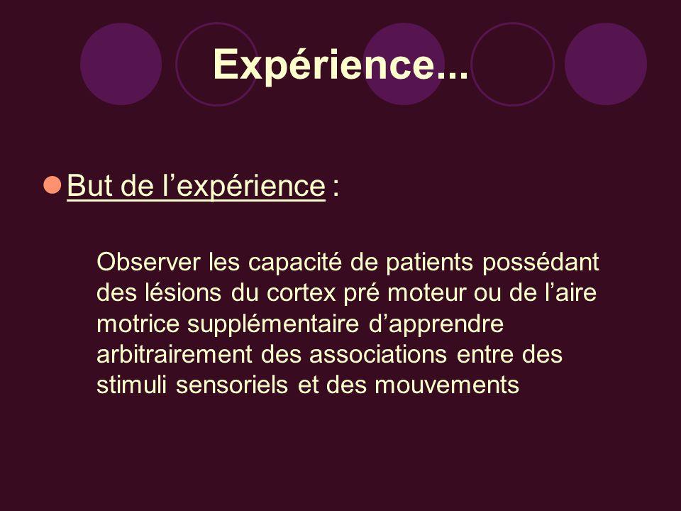 Expérience... But de l'expérience :