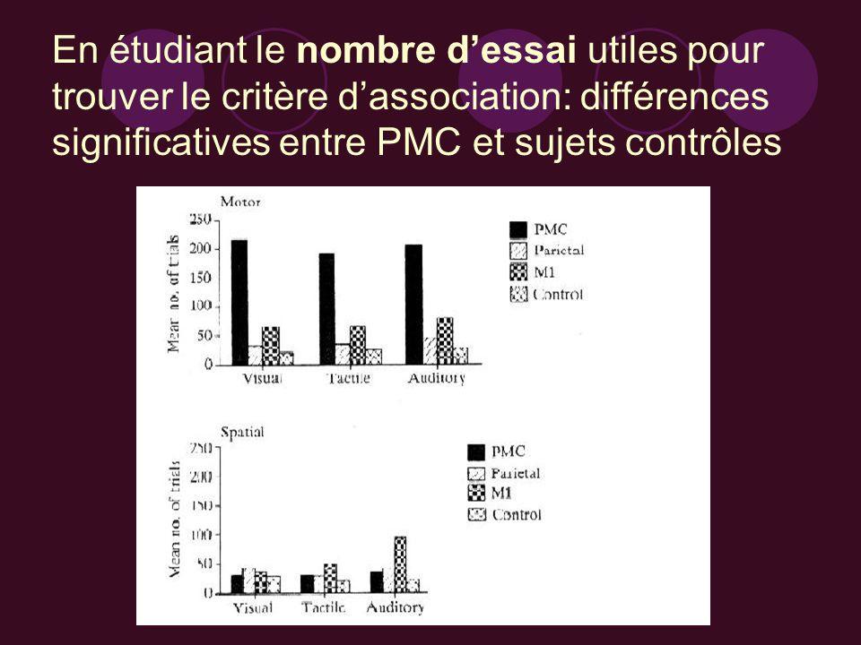 En étudiant le nombre d'essai utiles pour trouver le critère d'association: différences significatives entre PMC et sujets contrôles