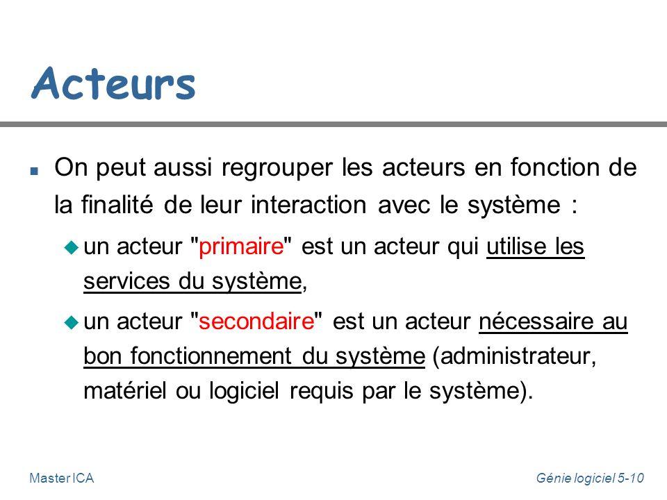 Acteurs On peut aussi regrouper les acteurs en fonction de la finalité de leur interaction avec le système :