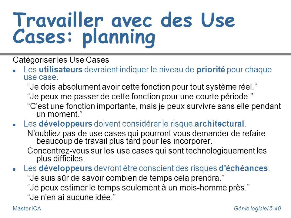 Travailler avec des Use Cases: planning