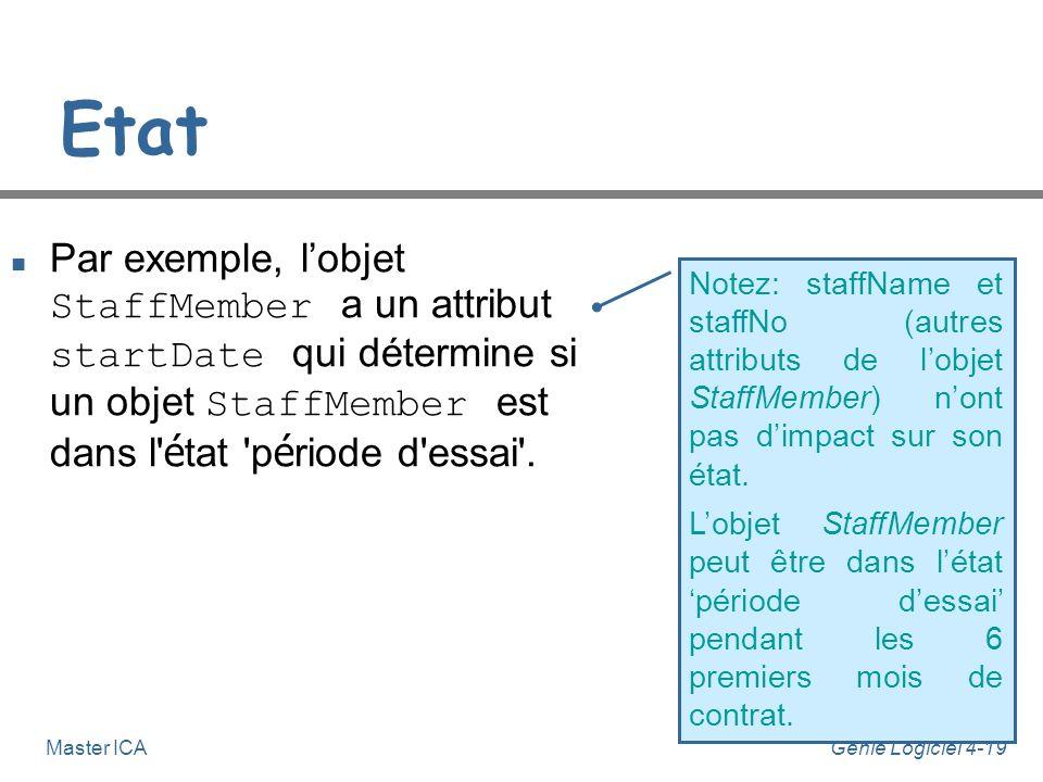 Etat Par exemple, l'objet StaffMember a un attribut startDate qui détermine si un objet StaffMember est dans l état période d essai .