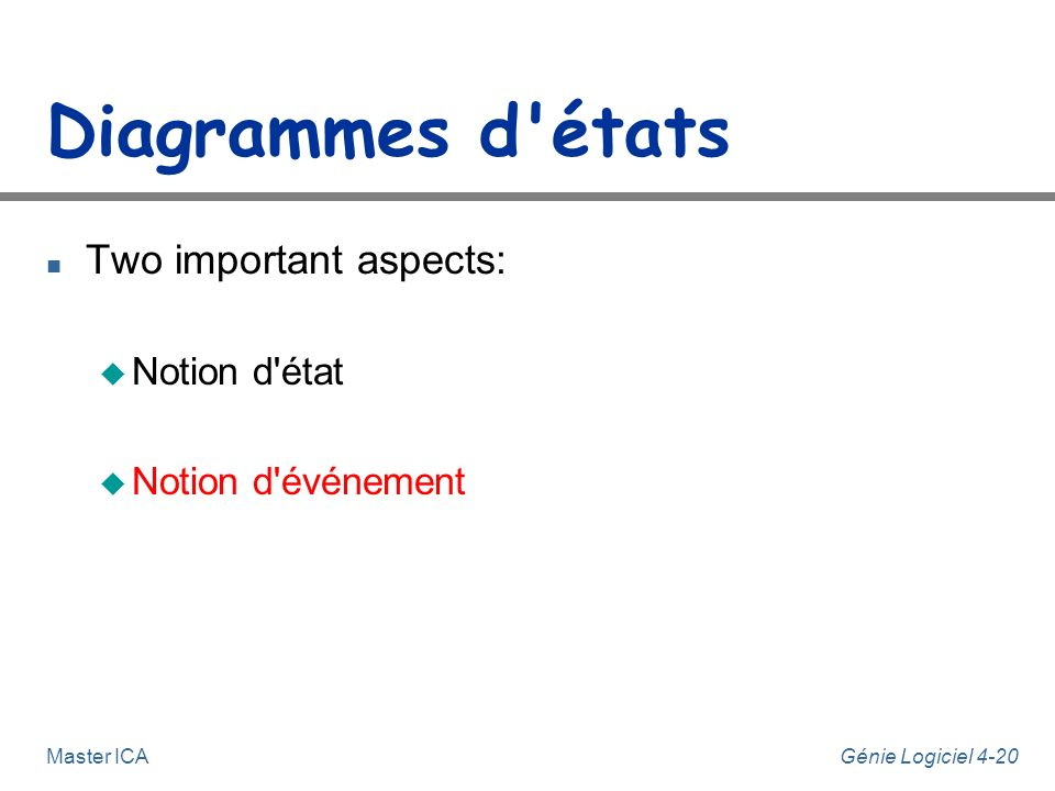Diagrammes d états Two important aspects: Notion d état