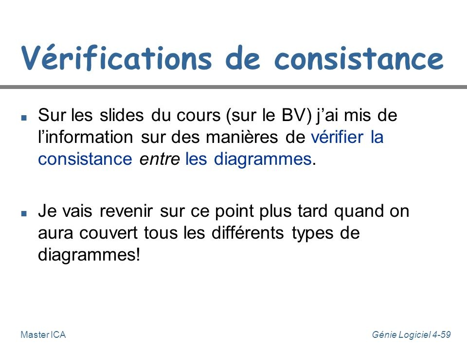 Vérifications de consistance