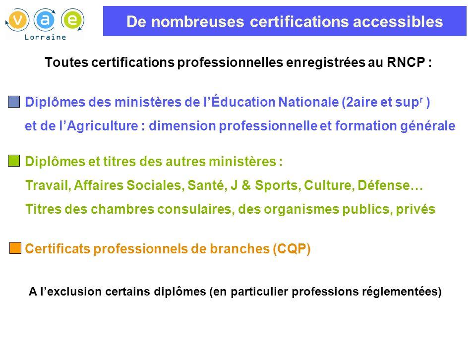 De nombreuses certifications accessibles