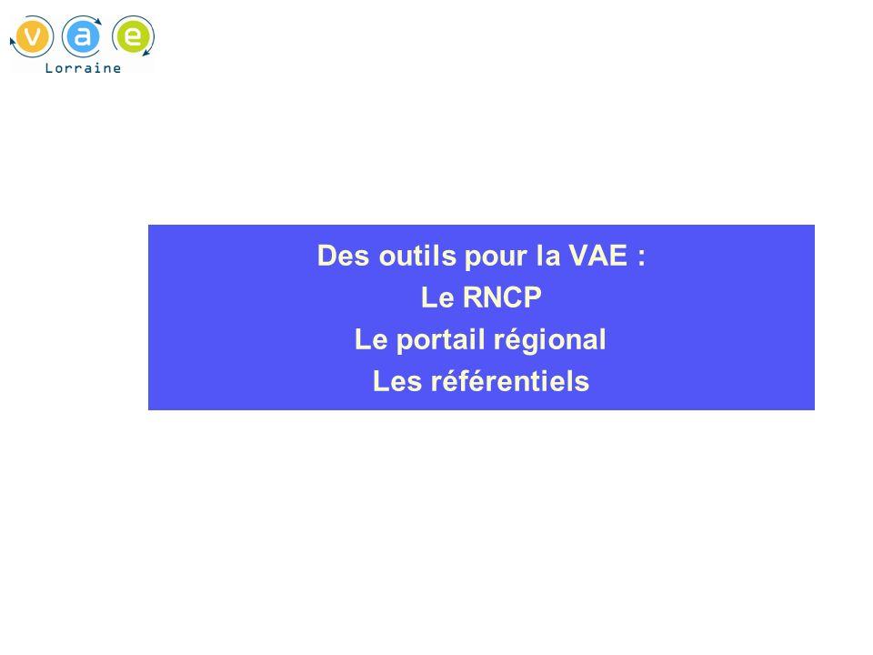 Des outils pour la VAE : Le RNCP Le portail régional Les référentiels