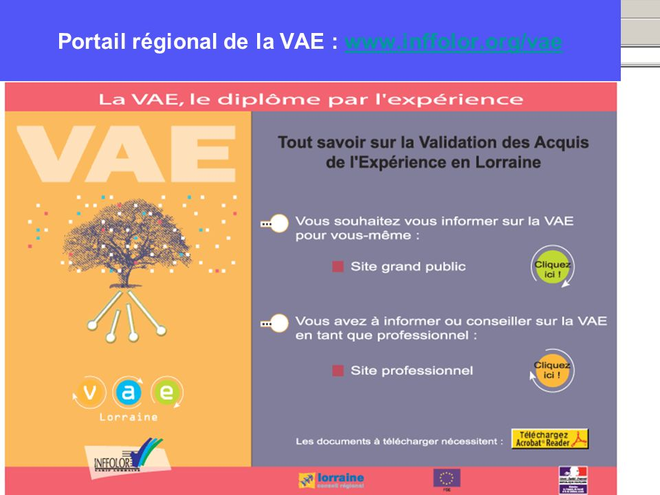 Portail régional de la VAE : www.inffolor.org/vae