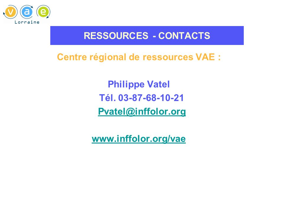 Centre régional de ressources VAE :