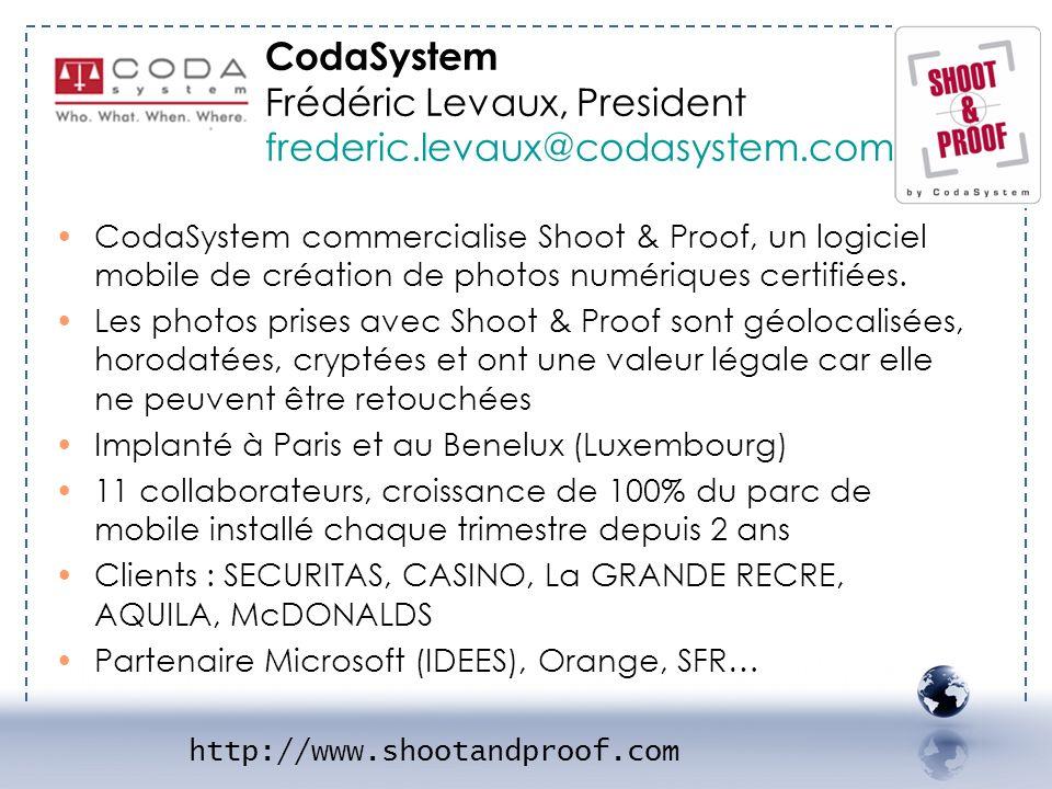 CodaSystem Frédéric Levaux, President frederic.levaux@codasystem.com