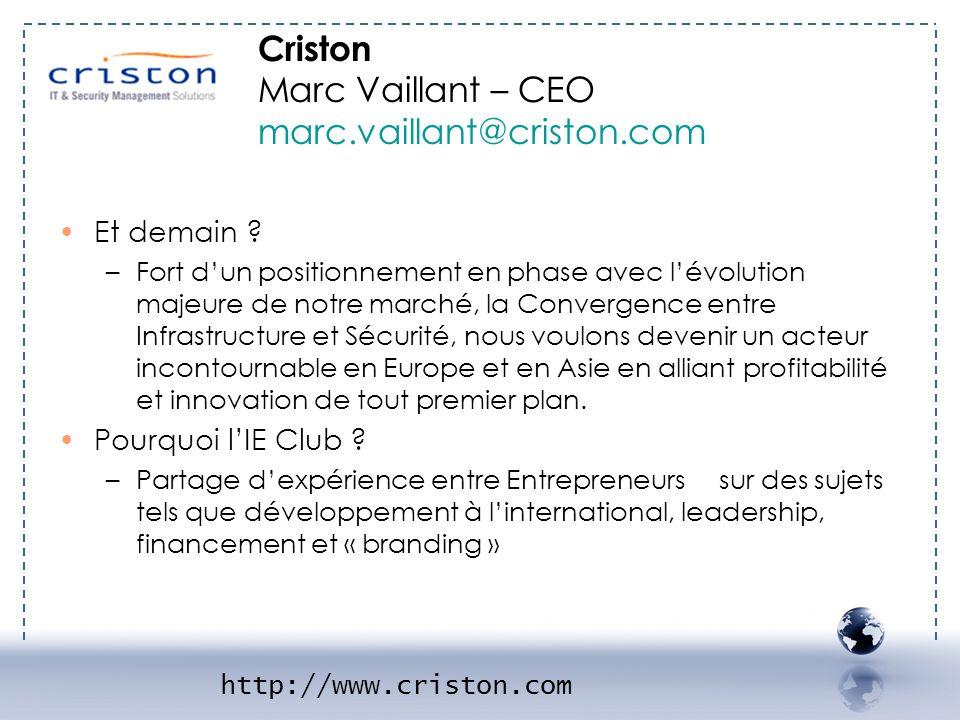 - CRISTON 2 Criston Marc Vaillant – CEO marc.vaillant@criston.com