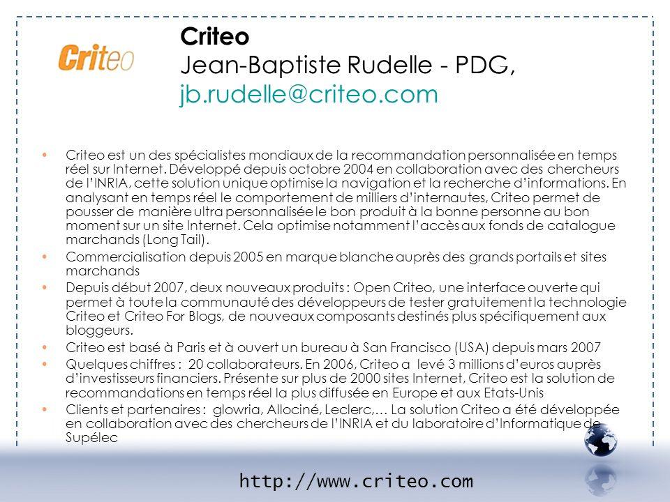 - CRITEO 1 Criteo Jean-Baptiste Rudelle - PDG, jb.rudelle@criteo.com