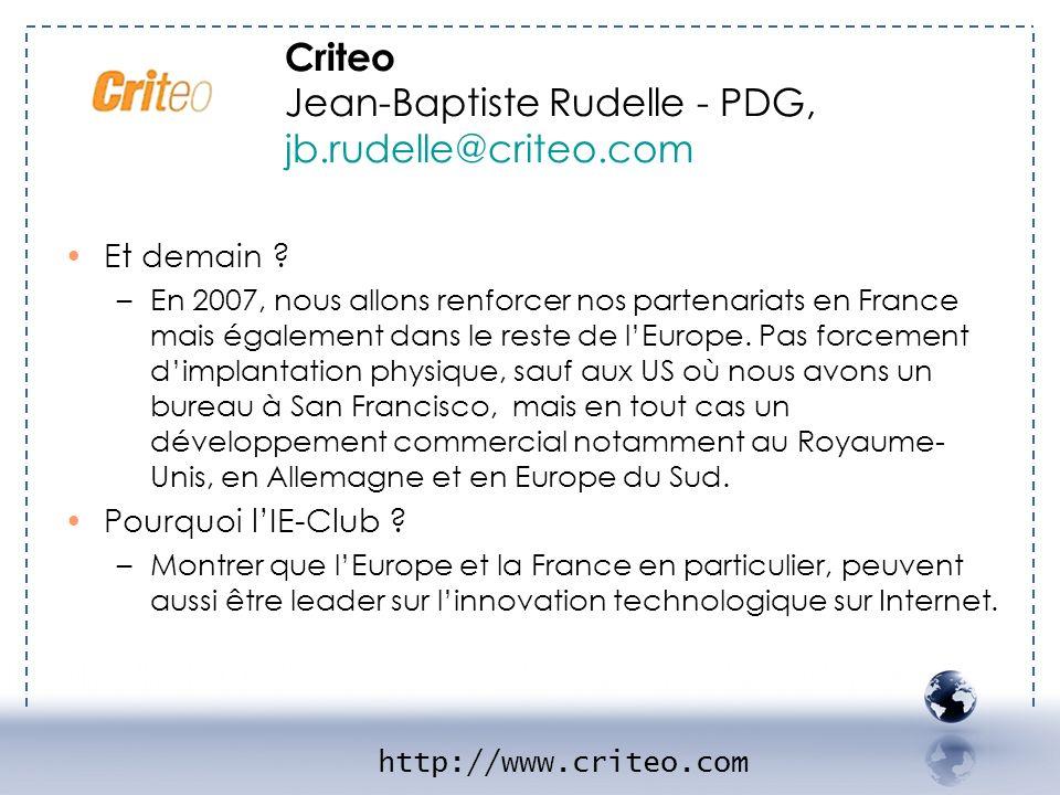 - CRITEO 2 Criteo Jean-Baptiste Rudelle - PDG, jb.rudelle@criteo.com