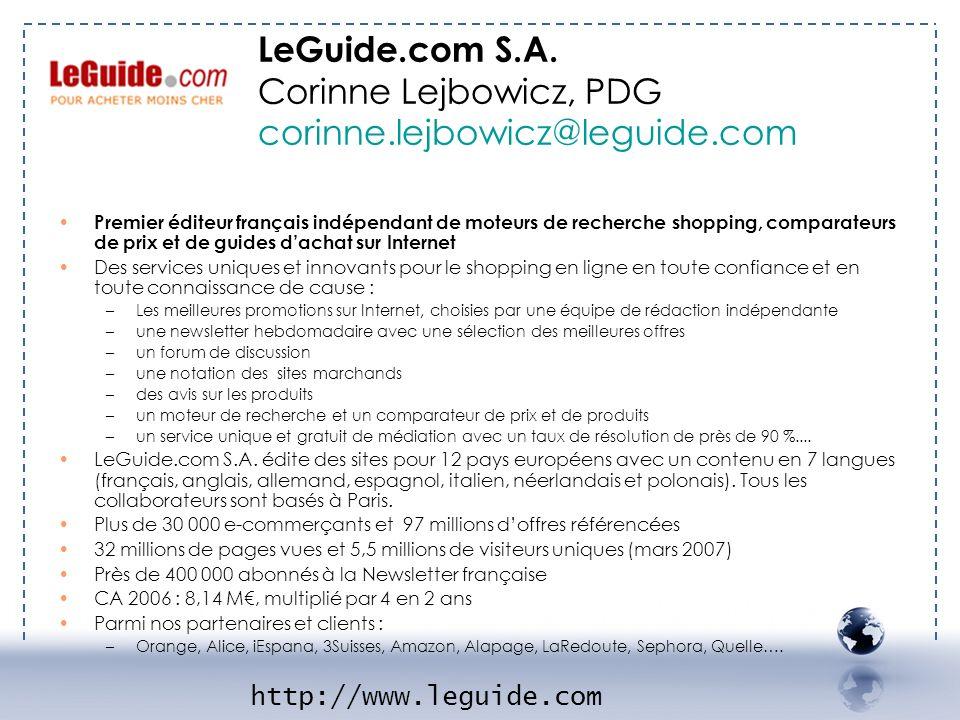 - LE Guide 1 LeGuide.com S.A. Corinne Lejbowicz, PDG corinne.lejbowicz@leguide.com.