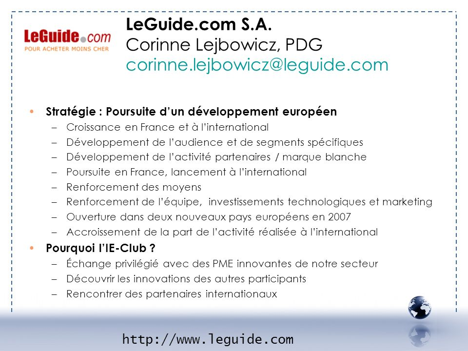 LeGuide.com S.A. Corinne Lejbowicz, PDG corinne.lejbowicz@leguide.com