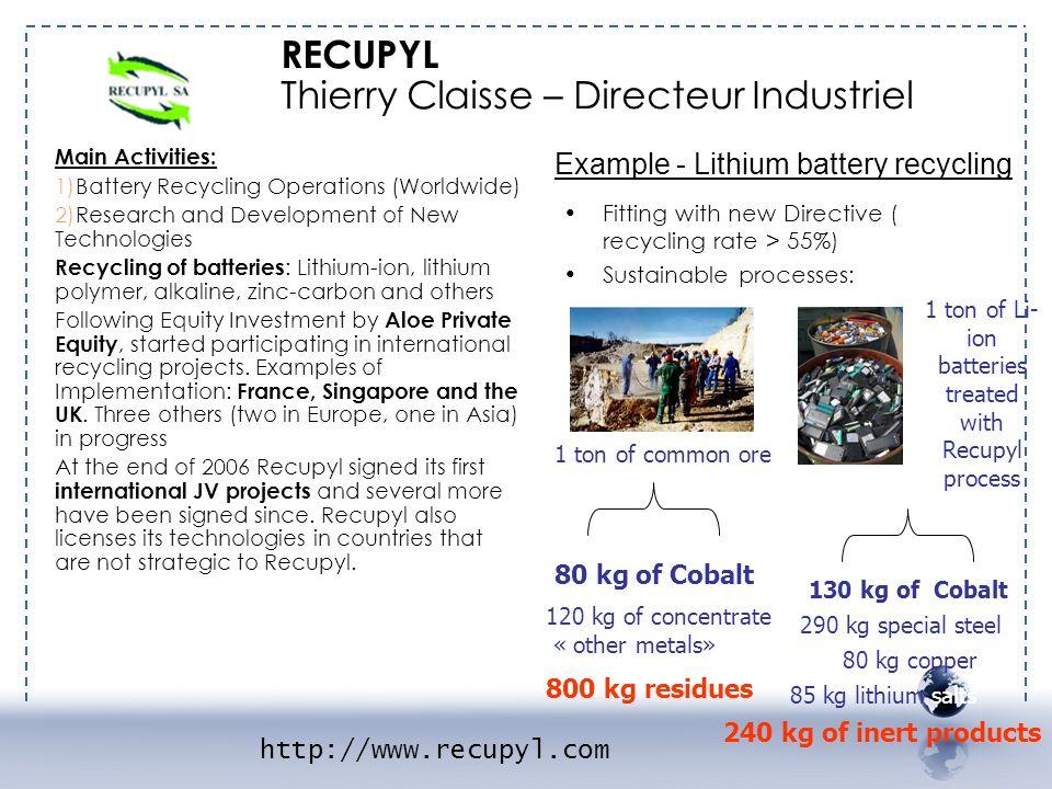 1 ton of Li-ion batteries treated
