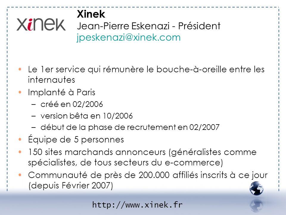- XINEK 1 Xinek Jean-Pierre Eskenazi - Président jpeskenazi@xinek.com