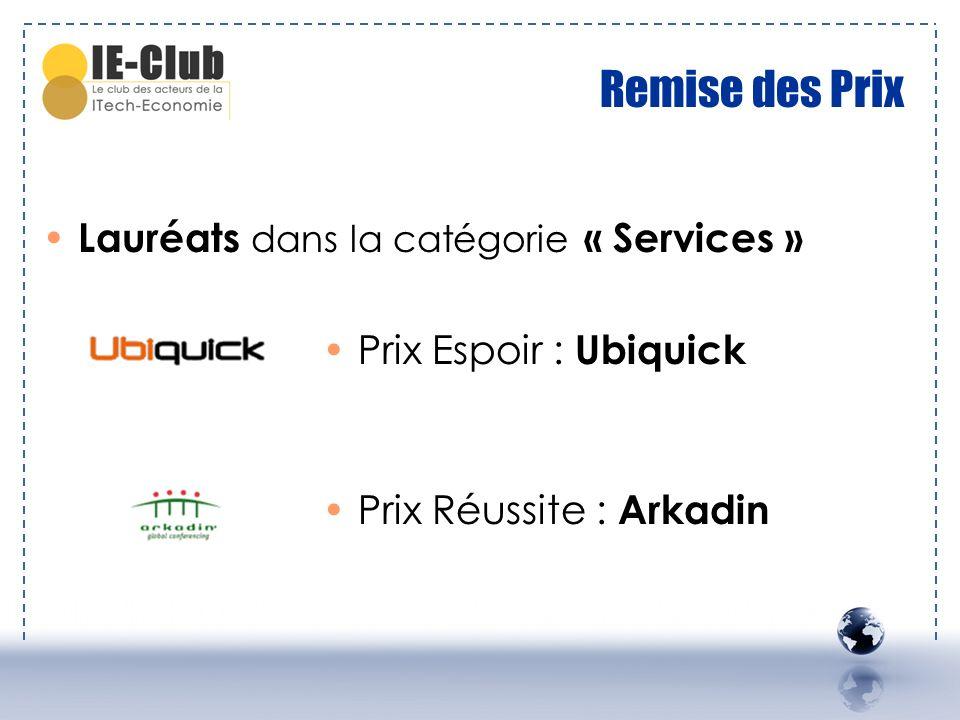 Remise des Prix Lauréats dans la catégorie « Services »