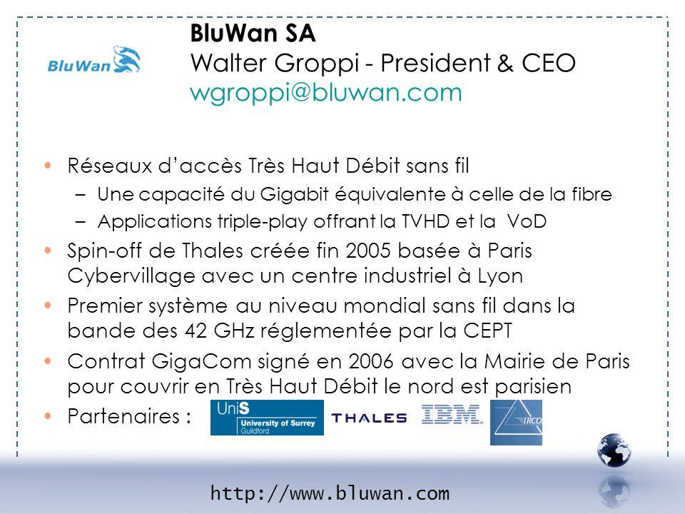 - BLUWAN 1 BluWan SA Walter Groppi - President & CEO wgroppi@bluwan.com. Réseaux d'accès Très Haut Débit sans fil.