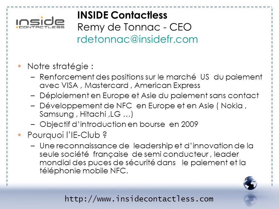 - INSIDE 2 INSIDE Contactless Remy de Tonnac - CEO rdetonnac@insidefr.com. Notre stratégie :