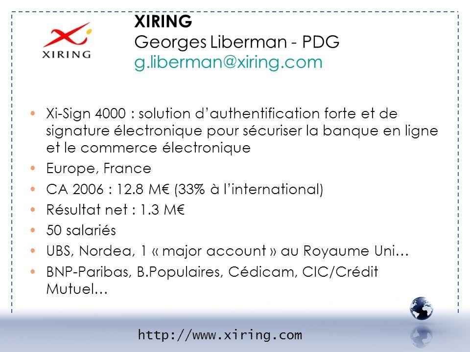 - XIRING 1 XIRING Georges Liberman - PDG g.liberman@xiring.com