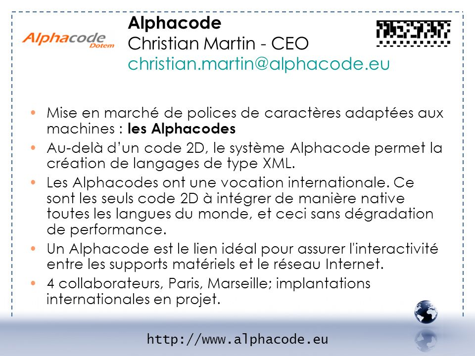 Alphacode Christian Martin - CEO christian.martin@alphacode.eu