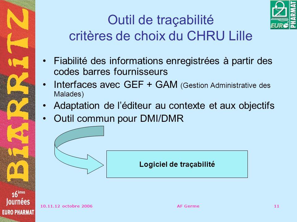 Outil de traçabilité critères de choix du CHRU Lille