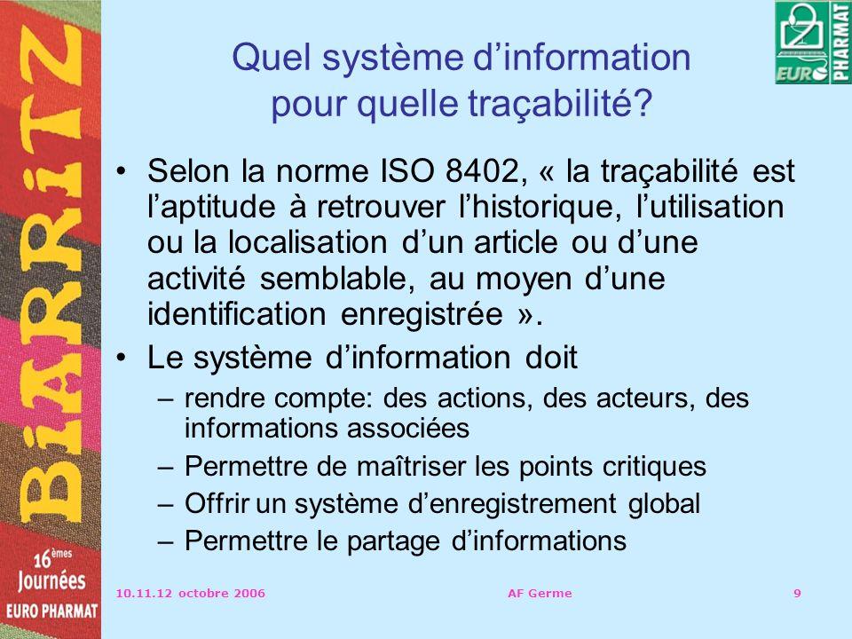 Quel système d'information pour quelle traçabilité
