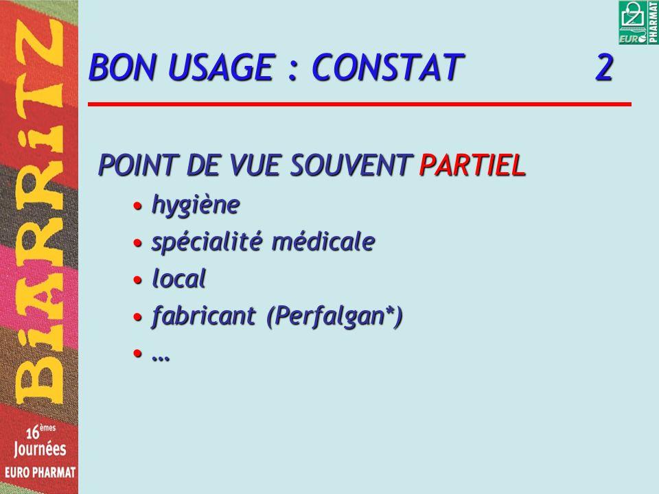 BON USAGE : CONSTAT 2 POINT DE VUE SOUVENT PARTIEL hygiène