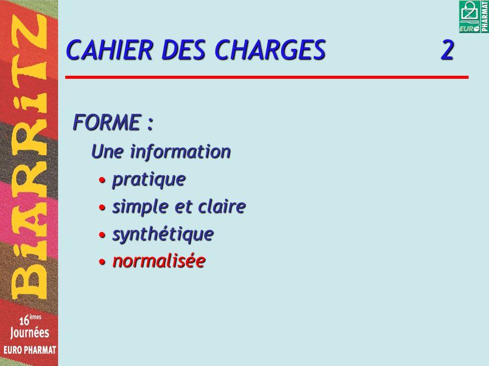 CAHIER DES CHARGES 2 FORME : Une information pratique simple et claire