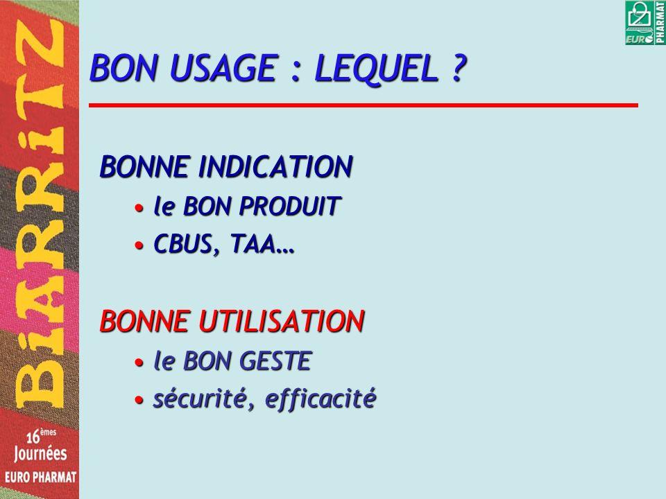 BON USAGE : LEQUEL BONNE INDICATION BONNE UTILISATION le BON PRODUIT