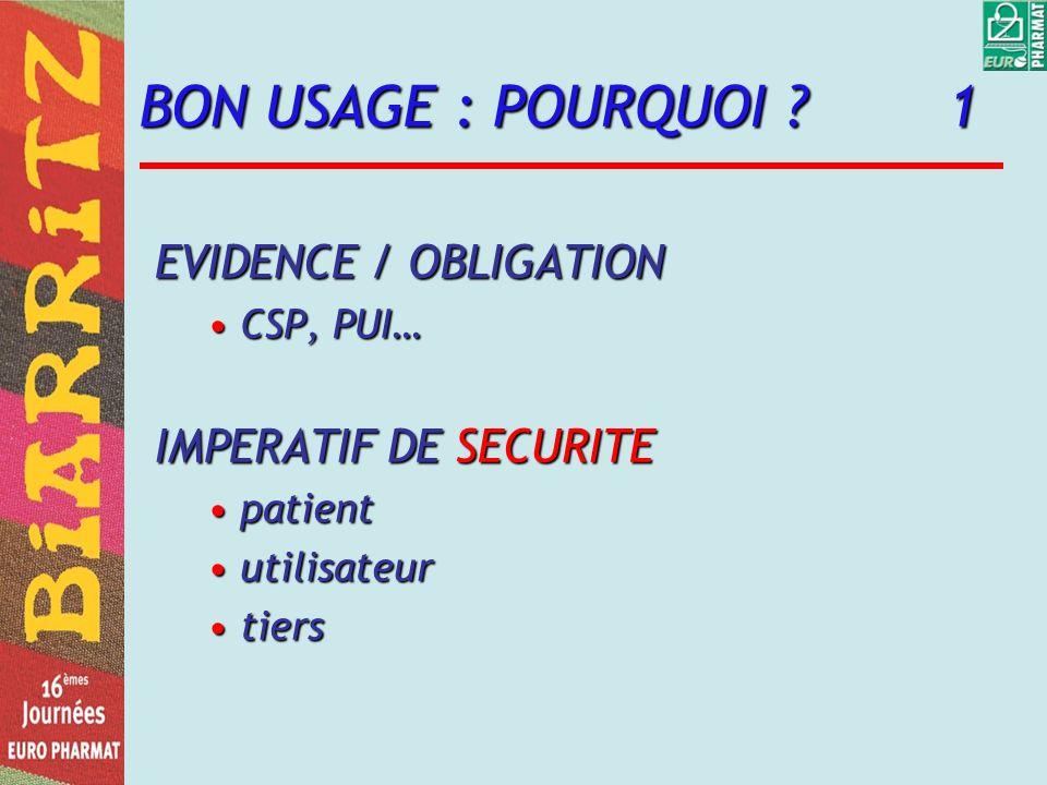 BON USAGE : POURQUOI 1 EVIDENCE / OBLIGATION IMPERATIF DE SECURITE
