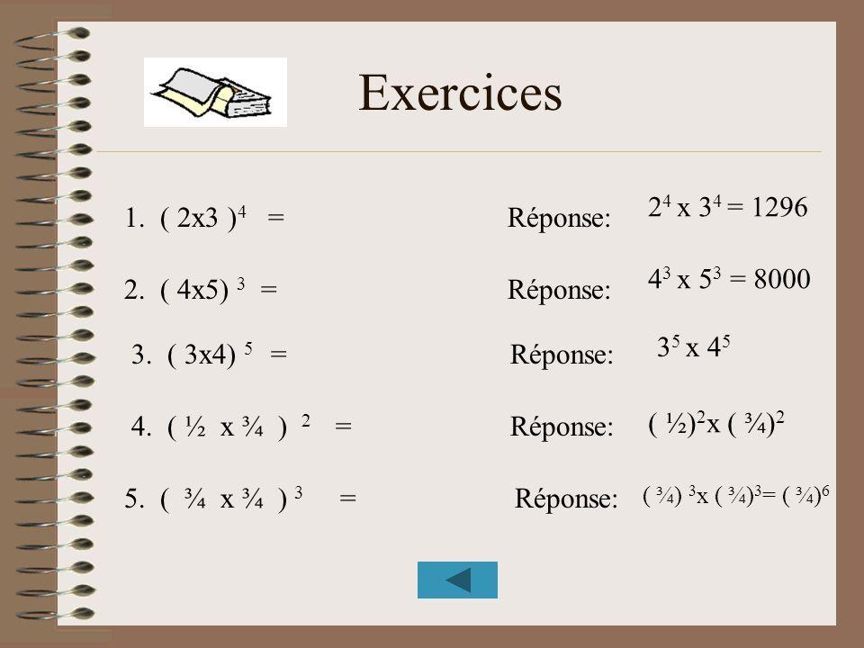 Exercices 24 x 34 = 1296 1. ( 2x3 )4 = Réponse: 43 x 53 = 8000