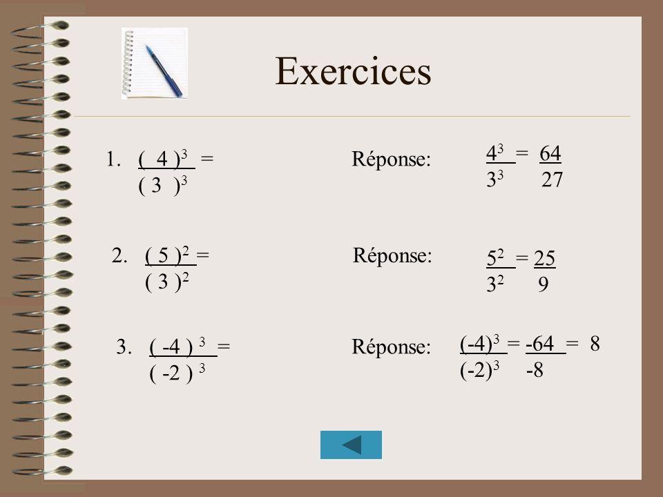 Exercices 43 = 64 ( 4 )3 = Réponse: 33 27 ( 3 )3 ( 5 )2 = Réponse: