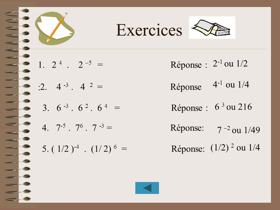 Exercices 2-1 ou 1/2 2 4 . 2 –5 = Réponse : : 4-1 ou 1/4