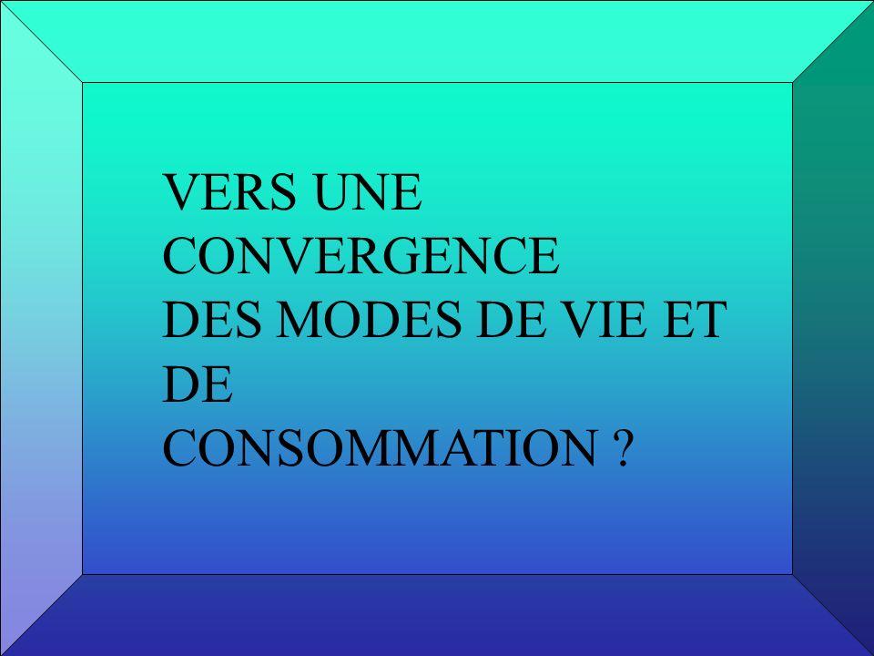 VERS UNE CONVERGENCE DES MODES DE VIE ET DE CONSOMMATION