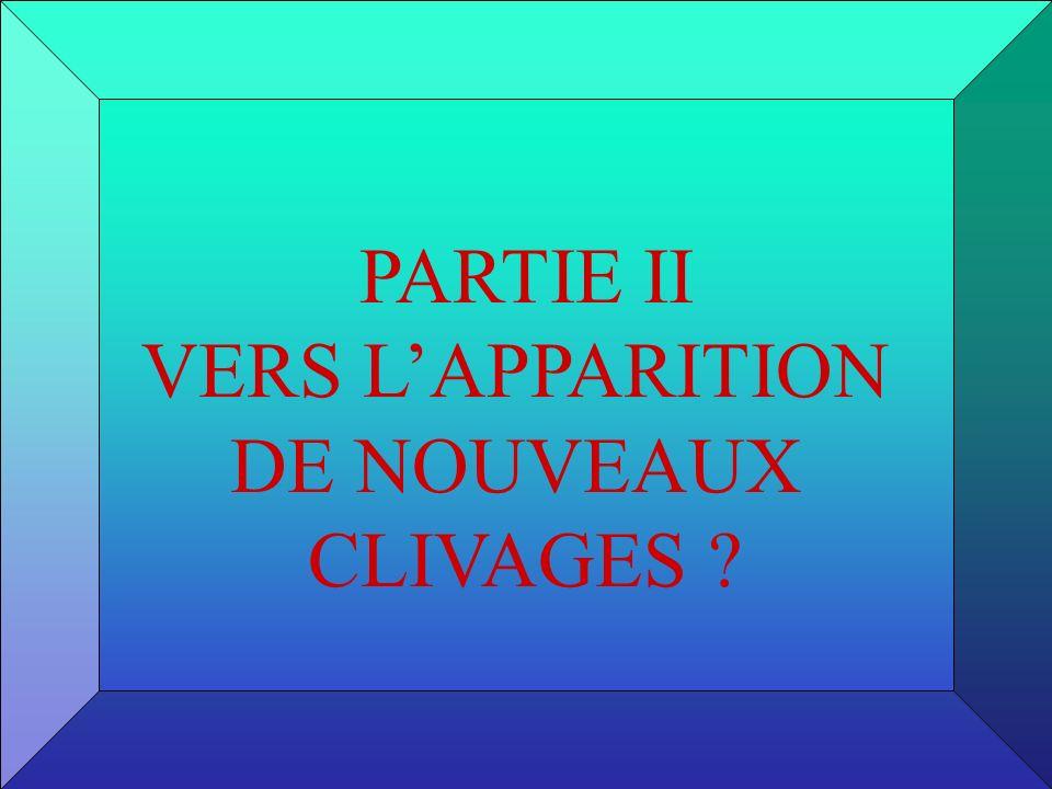 PARTIE II VERS L'APPARITION DE NOUVEAUX CLIVAGES