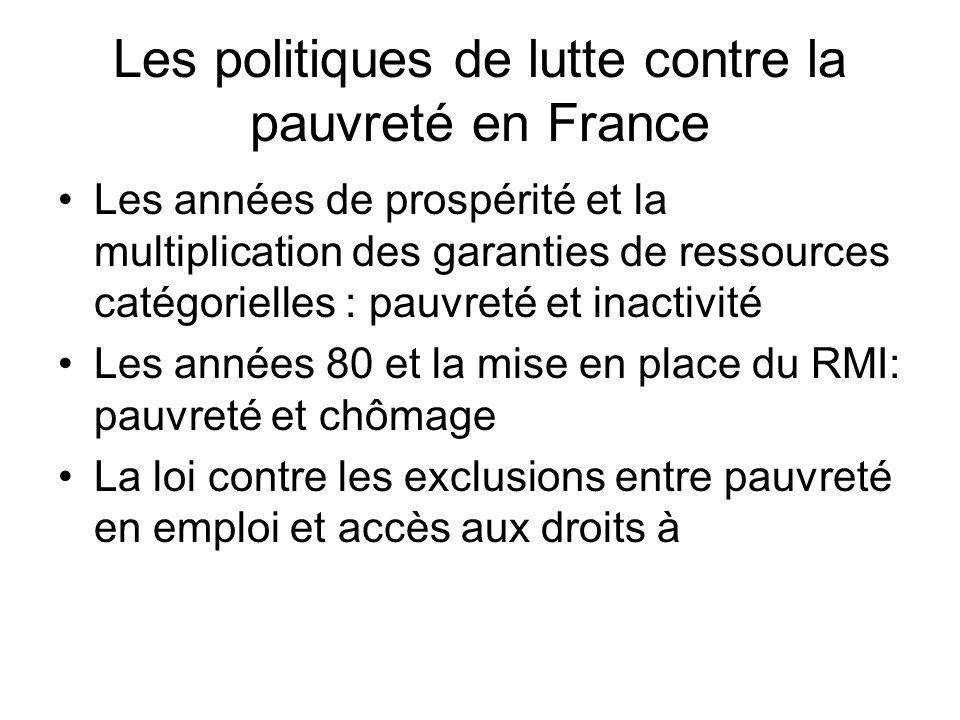 Les politiques de lutte contre la pauvreté en France