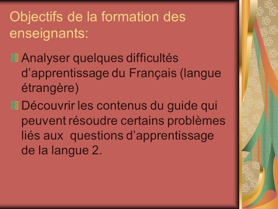 Objectifs de la formation des enseignants: