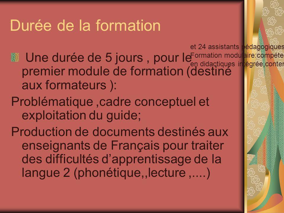Durée de la formation et 24 assistants pédagogiques . Formation modulaire:compétences visées en didactiques intégrée,contenus.