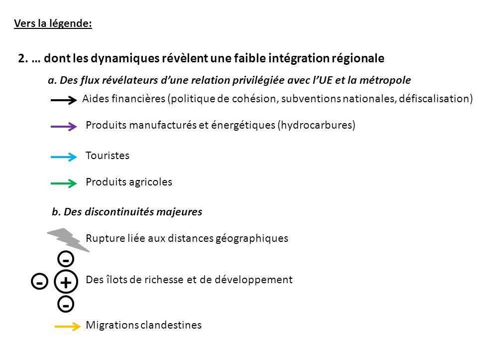 Vers la légende: 2. … dont les dynamiques révèlent une faible intégration régionale.